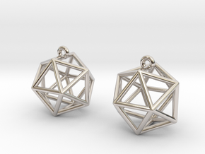 Icosahedron Earrings in Platinum