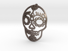 Day of the Dead Skull Pendant in Polished Bronzed Silver Steel