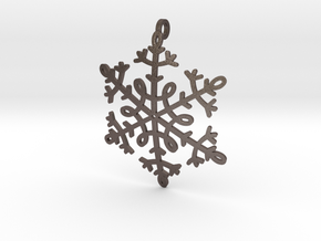 Snowflake Pendant or ornament in Polished Bronzed Silver Steel