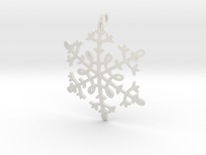 Snowflake Pendant or ornament in White Natural Versatile Plastic