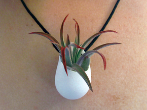 Planter Necklace Pendant in White Natural Versatile Plastic
