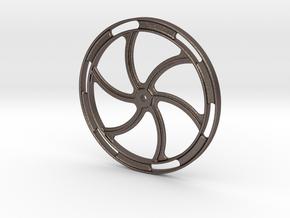 "Hand Brake Wheel - 2.5"" scale in Polished Bronzed Silver Steel"