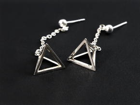 Tetrahedron earrings #Silver in Fine Detail Polished Silver