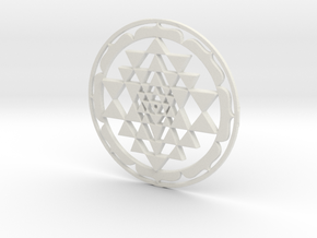 Sri Yantra Lotus Circle 42x2mm Super-accurate in White Strong & Flexible