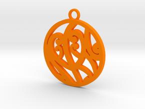 Maori tribal koru pendant in Orange Processed Versatile Plastic