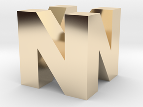 "N64 Logo - 2"" Cube Desk Object in 14K Yellow Gold"