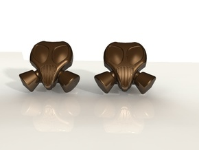 Gasmask Cufflinks in Polished Bronzed Silver Steel