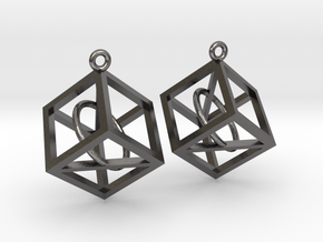Wireframe Earrings in Polished Nickel Steel
