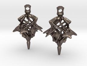 Surreal Lantern Earrings - Standard Pair in Polished Bronzed Silver Steel