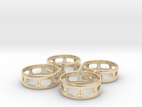 Windowed Napkin Rings (4) in 14K Yellow Gold