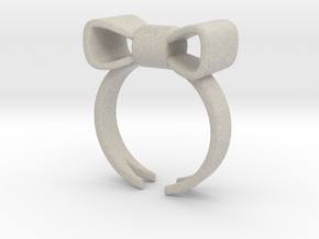 Don't Forget Me Bow Ring in Sandstone