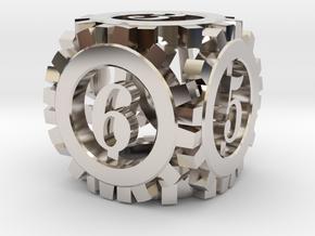Steampunk Gear d6 in Platinum