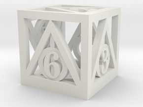 Deathly Hallows d6 in White Natural Versatile Plastic