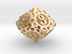 Steampunk Gear d10 in 14K Yellow Gold