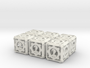 Steampunk 6d6 Set in White Natural Versatile Plastic