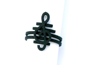 G clef string ring size 8 U.S. in Black Strong & Flexible