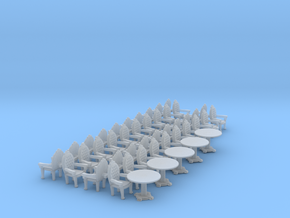 Parlor Chair x40 and Tables x5 HO scale in Smooth Fine Detail Plastic