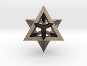 Star Tetrahedron pendant #Silver in Polished Bronzed Silver Steel
