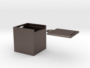 """Box for small """"SOMA cube"""" (please see the product) in Polished Bronzed Silver Steel"""