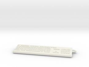 Keybord Keychain in White Natural Versatile Plastic