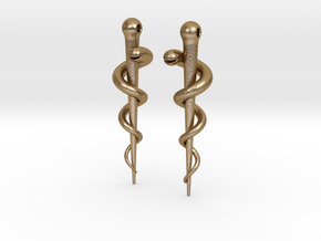 Rod of Asclepius earrings in Polished Gold Steel