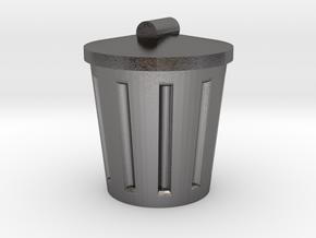 Trash Can, Miniature in Polished Nickel Steel