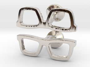 Hipster Glasses Cufflinks in Platinum