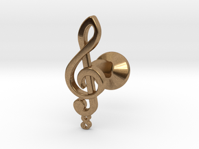 Tenor Treble Clef Cufflink (single) in Natural Brass