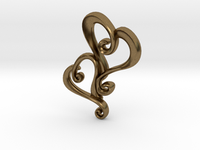 Swirly Hearts Pendant/Keychain in Natural Bronze