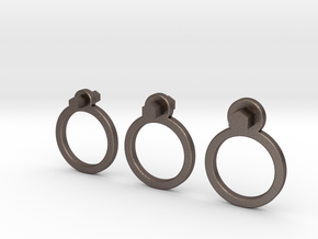 """ Allen "" Rings ( Set of 3 ) in Polished Bronzed Silver Steel"
