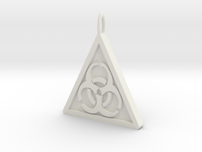 Bio-hazard Pendant in White Natural Versatile Plastic