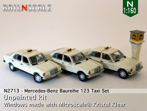 SET 3x Mercedes-Benz W123 - Taxi set (N 1:160) in Frosted Ultra Detail
