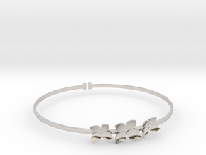 Bracelet - Dogwood Flowers (Size L) in Rhodium Plated Brass