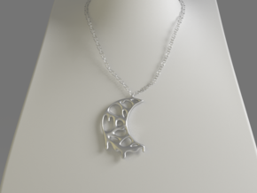 Moon Drop Pendant in Polished Silver