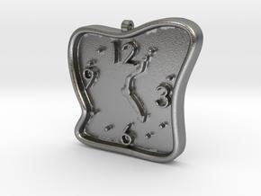 Clock Pendant in Natural Silver