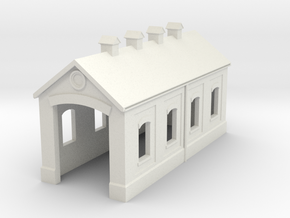 Engine Shed (T-Gauge) in White Natural Versatile Plastic