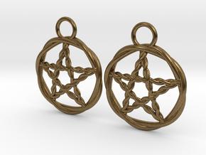 Woven pentacle earrings in Natural Bronze