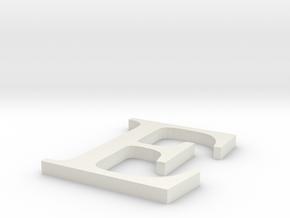 Letter-E in White Natural Versatile Plastic