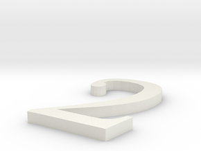Number-2 in White Natural Versatile Plastic