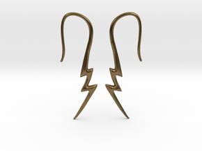 Lightning Bolt Earrings - 16g in Natural Bronze