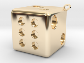 Dice Pendant in 14K Yellow Gold