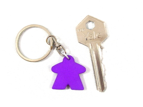 Meeple Keychain in Purple Strong & Flexible Polished