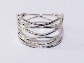 Grid Ring Size 11 in Polished Silver