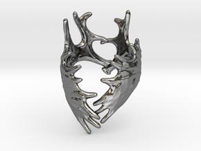 (Size 11) Moose Antler Ring in Fine Detail Polished Silver