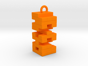 Jenga Necklace in Orange Processed Versatile Plastic