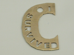 I Survived The Big C Pin/Pendant/Fob, Cut-Through in Raw Bronze
