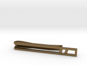 Minimalist Tie Bar - Double Slash in Natural Bronze