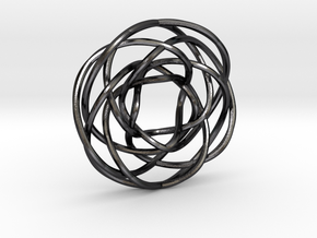 Torus Knot Pendant 1/17/7/12 in Polished Grey Steel
