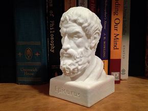 Epicurus Bust 4 inches in White Natural Versatile Plastic