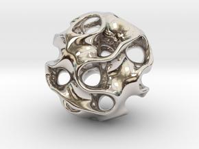 GYROID Spheroid Pendant - 20mm in Platinum
